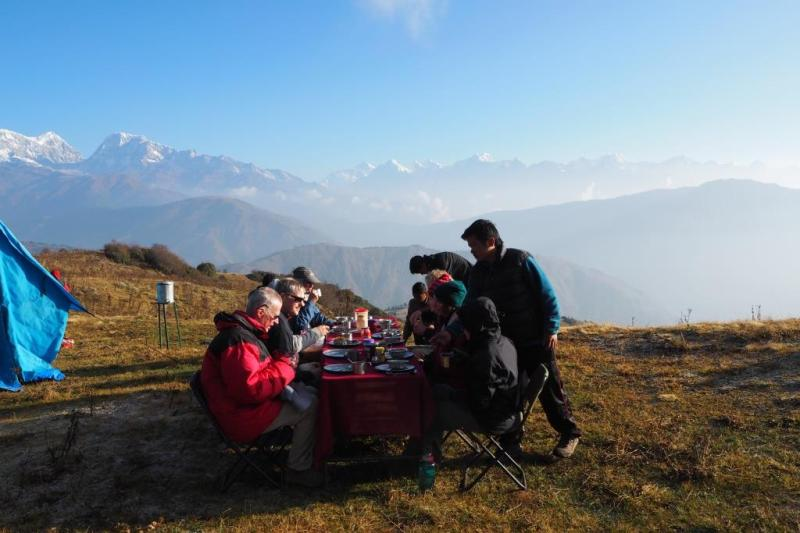 Breakfast with a view of Mt Everest