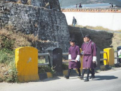 Boys on their way to school, Thimphu