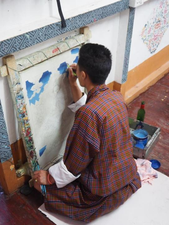 Painting at the Art & Craft School in Thimphu