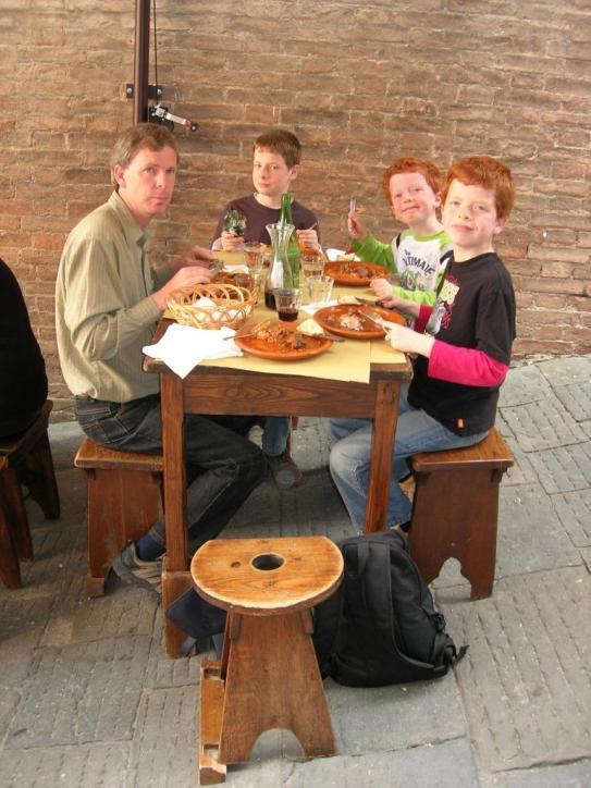 Rustic Tuscan food on a steep Sienna street