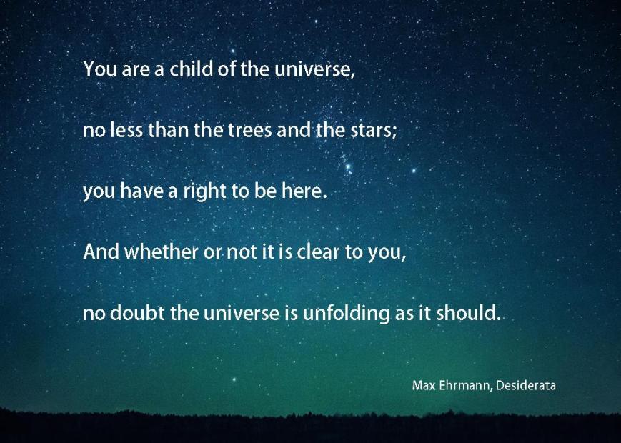 Desiderata Universe quote
